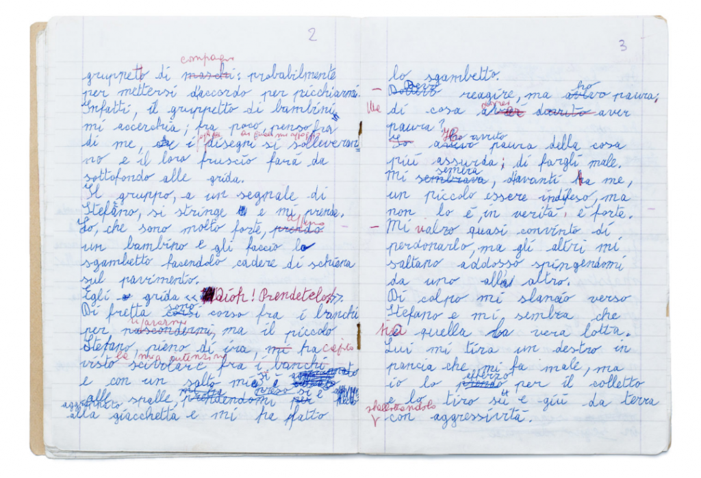 "In this notebook from Bergamo, Italy, from 1978, a student wrote about a fight in the classroom. ""Suddenly I rush towards Stefano and it seems to me that this is the real struggle. He throws his right fist into my belly and it hurts, but I grab him by the collar and pull him up and down the ground aggressively. Then I pull him again, but I am stopped by a child who trips me and takes me by the collar, dividing me from Stefano."""