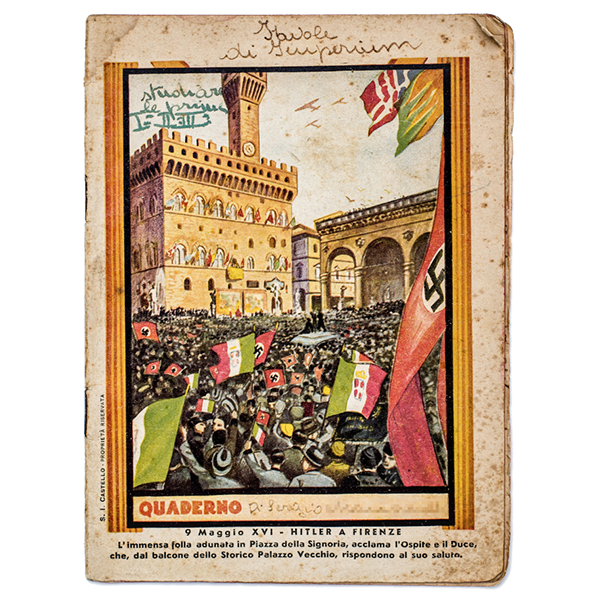 Italian and Nazi flags adorn the cover of this 1938 workbook from Italy.