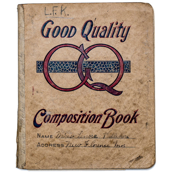 A composition book from New Florence, Missouri, c. 1919-1921.