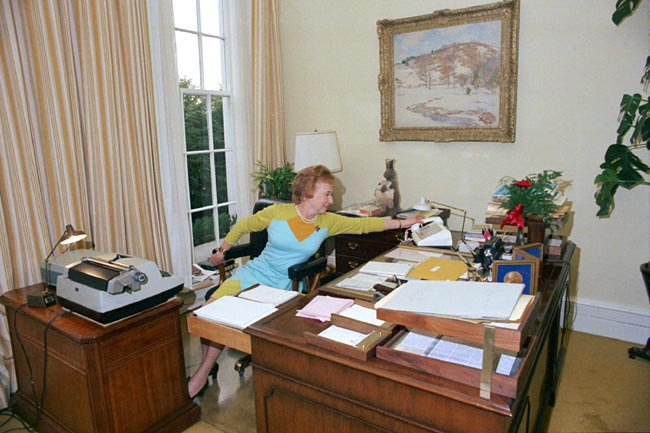 Rose Mary Woods in her White House office, demonstrating how 18 1/2 minutes of potentially incriminating audio tape might have accidentally been erased. Photo: Gerald R. Ford Library and Museum.