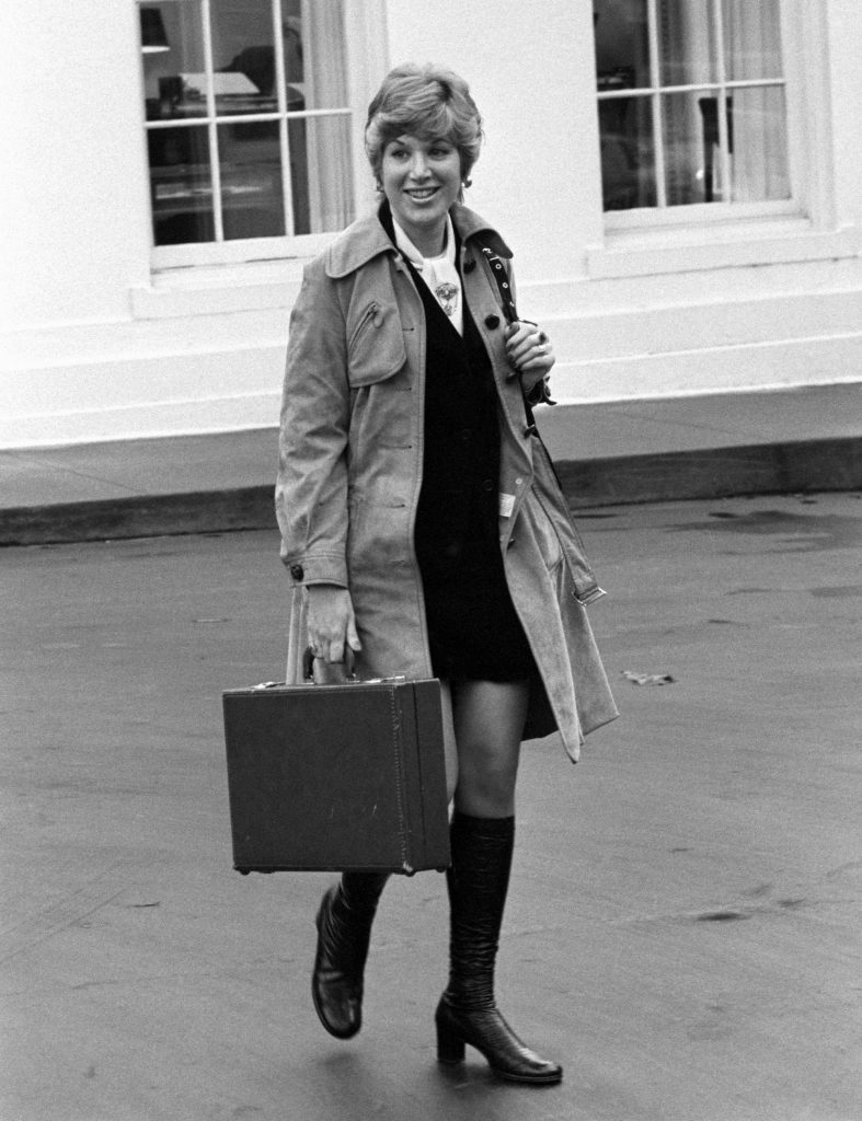 Jill Wine Volner, as she was known in 1973, leaving the White House. Photo: Bettmann/Getty Images.