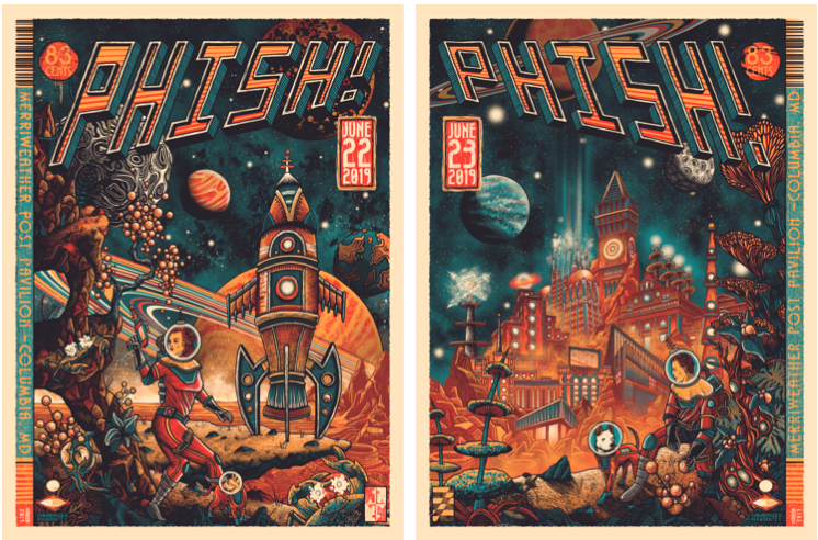 Phish, June 22, 2019 (left) and June 23, 2019 (right), at Merriweather Post Pavilion in Columbia, Maryland.