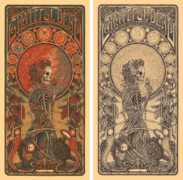 """What a Long Strange Trip It's Been"" for Grateful Dead Productions, January 2020, timed edition (left) and keyline edition (right)."
