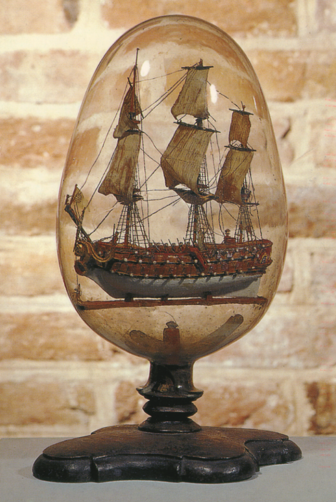 A model ship in a glass orb made by captain Gioni Bondi in 1784. Photo via the Museum für Kunst und Kulturgeschichte, Hansestadt Lübeck.