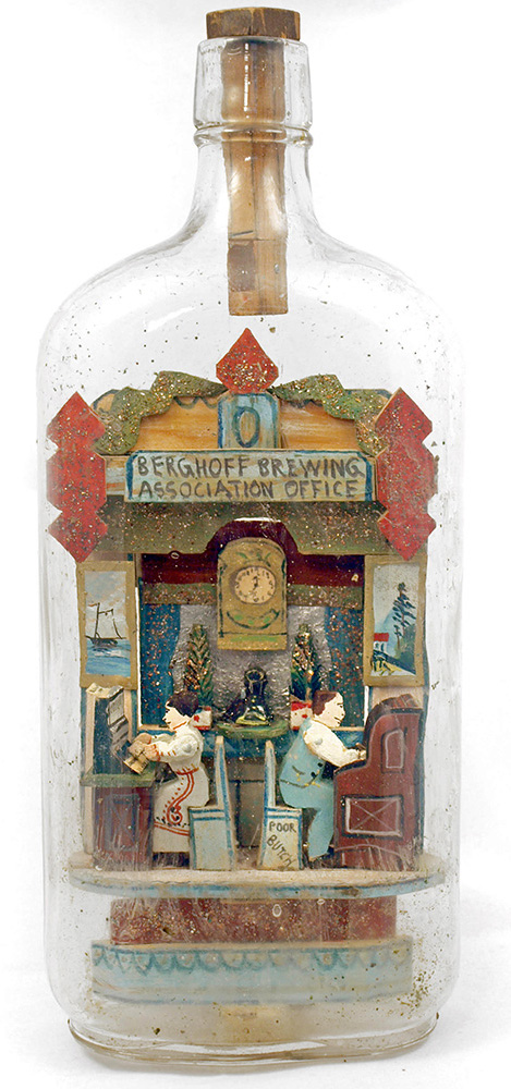 This bottle whimsey depicting the offices of the Berghoff Brewing Co. was made by Carl Wörner, c. 1919. Photo courtesy Susan D. Jones.