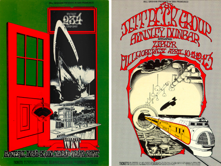 Tuten's earliest posters for Bill Graham revealed his fascination with modes of transportation, from ocean liners to trains. Left: Grateful Dead, January 2-4, 1969, Fillmore West. Right: The Jeff Beck Group, April 10-13, 1969, Fillmore West.