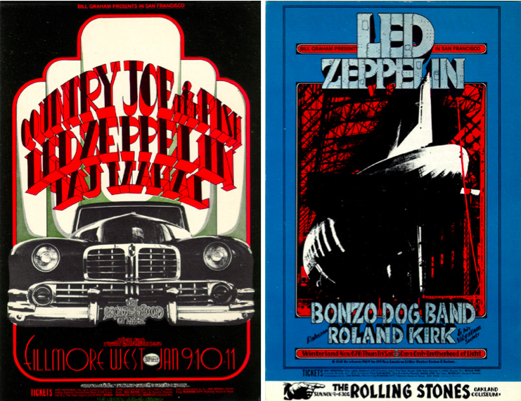 Tuten designed all of the posters for Led Zeppelin concerts produced by Bill Graham. Left: Country Joe & the Fish, January 9-11, 1969, Fillmore West. Right: Led Zeppelin, November 6-8, 1969, Winterland.