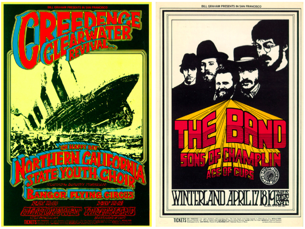 Left: Creedence Clearwater Revival, May 22-25, 1969, Fillmore West and Winterland. Right: The Band, April 17-19, 1969, Winterland.