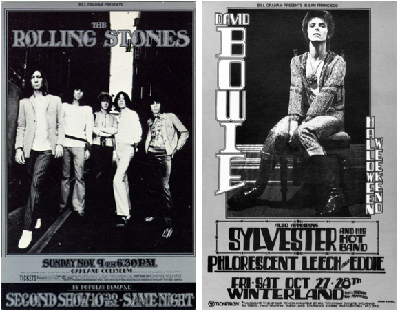 Tuten was occasionally given photographs of performers to incorporate in his posters. The Rolling Stones photo was shot by Ron Rafaelli, but the name of the David Bowie photographer is not known. Left: Rolling Stones, November 9, 1969, Oakland Coliseum. Right: David Bowie, October 27-28, 1972, Winterland.