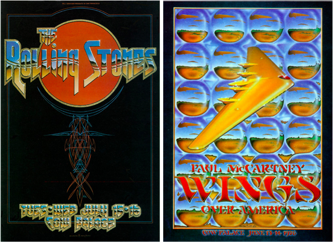In the mid-1970s, Tuten collaborated with Stanley Mouse and Alton Kelley on posters for the Rolling Stones, July 15-16, 1975, and Wings, June 13-14, 1976. All shows were at the Cow Palace.