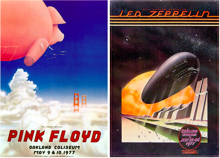 Tuten's most collected collaborations with Daddy Bread may be these two posters from 1977 for Pink Floyd, May 9-10 and Led Zeppelin, July 23-24. All shows were at the Oakland Coliseum.