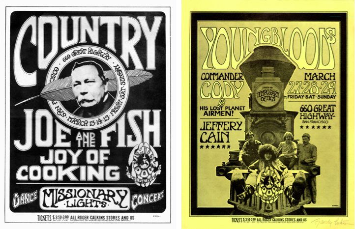 Left: Country Joe & the Fish, March 13-15, 1970, Family Dog on the Great Highway. Right: Youngbloods, March 27-29, 1970, Family Dog on the Great Highway.