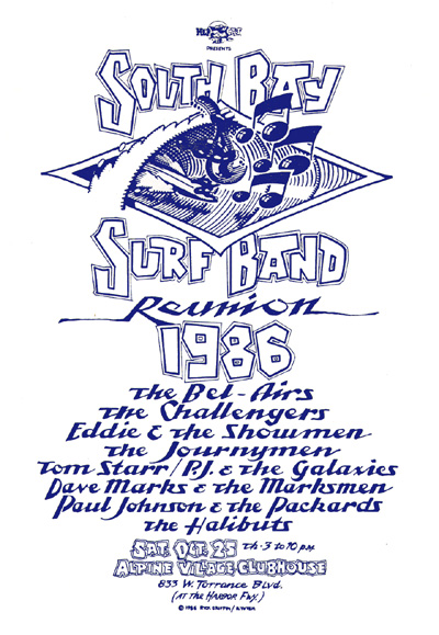 South Bay Surf Band Reunion, October 25, 1986, Alpine Village Clubhouse.