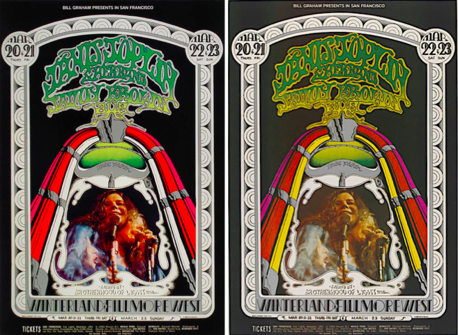 For the first printing (left) of this Janis Joplin poster, March 20-23, 1969, Fillmore West and Winterland, the printer forgot the yellow. The second printing (right) shows the poster as Tuten designed it. The photo of Joplin is by Jim Marshall.