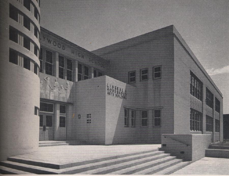 The Streamline Moderne architecture of Tuten's high school may have made a subliminal impression on the young artist.