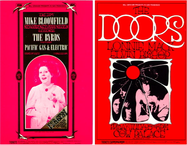 The poster on the left was mistakenly printed in magenta instead of red. Photo by Peter Pynchon. The Doors poster is one of two by Tuten to use the same PR shot of the band. Left: Mike Bloomfield & Friends, February 6-9, 1969, Fillmore West. Right: The Doors, July 25, 1969, Cow Palace.