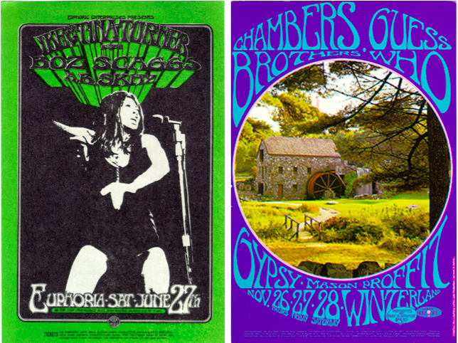 In 1970, Tuten began doing posters for clients other than Bill Graham. Left: Ike & Tina Turner, June 27, 1970, Euphoria. Right: Chambers Brothers, November 27-28, 1970, Winterland.