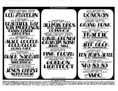 This information sheet was the first poster produced after the closing of the Fillmore West in July 1971.