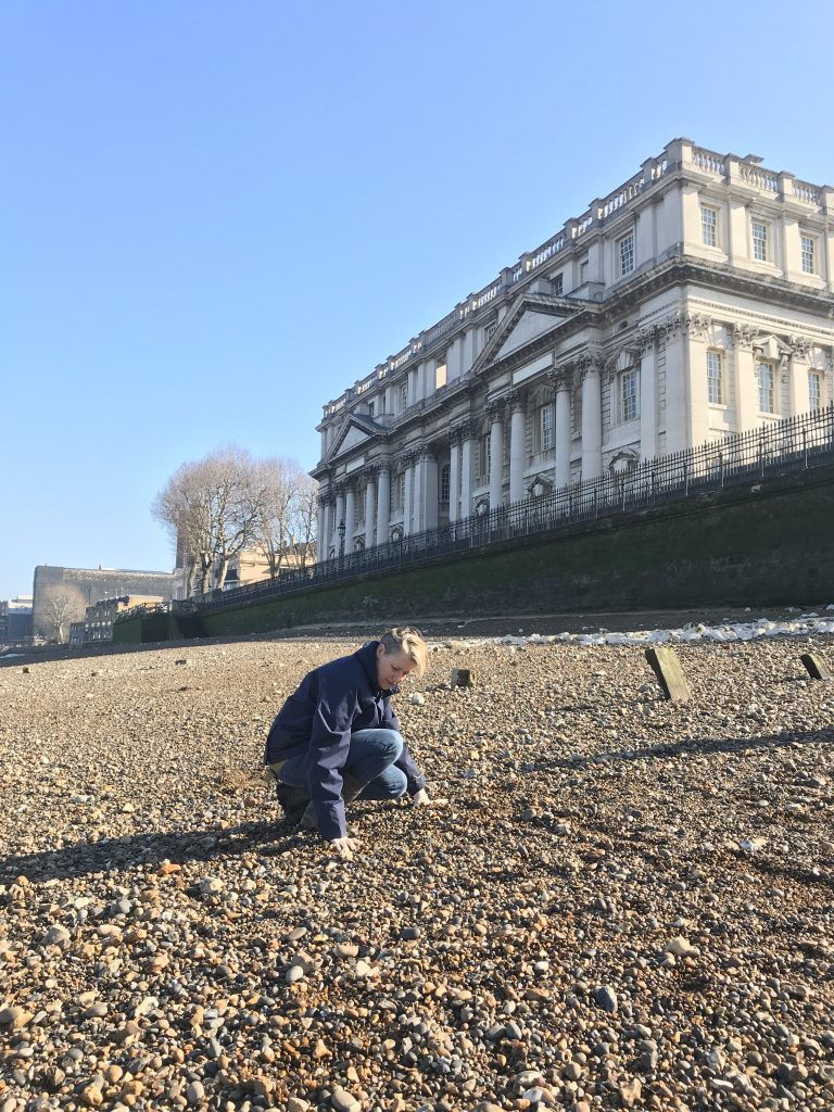 Maiklem scours the shore near the Royal Naval College in Greenwich, London. Courtesy Lara Maiklem.