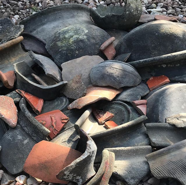 A collection of Roman-era pottery shards Maiklem collected in a single day mudlarking on the Thames. Courtesy Lara Maiklem.