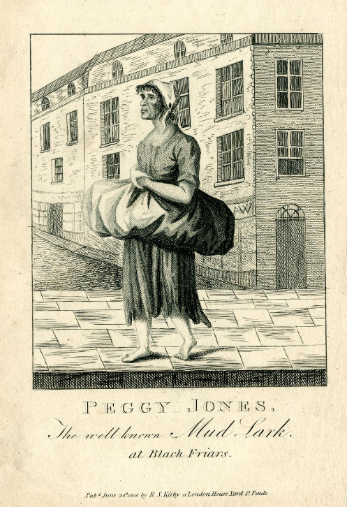 Peggy Jones was one of the few female mudlarks in the late 17th century, and became known for finding coal in the mud with her feet. Courtesy the British Museum.