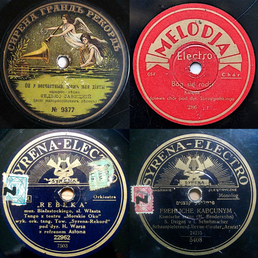 Clockwise from top left: A 1920s Syrena Grand Rekord disc in Ukrainian. Via eBay. Melodia Electro was the company's bargain brand for new artists, pressed on inferior shellac. Via culture.pl. In the 1930s, Syrena-Electro pressed Hebrew-language discs for Eastern Europeans who had fled to Palestine. Via eBay. Rebeka was a popular Polish tango hit with Jewish themes. Via eBay.