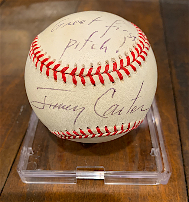President Jimmy Carter signed the baseball Foxworthy had just used to throw out the first pitch at an Atlanta Braves game. Photo courtesy Jeff Foxworthy.