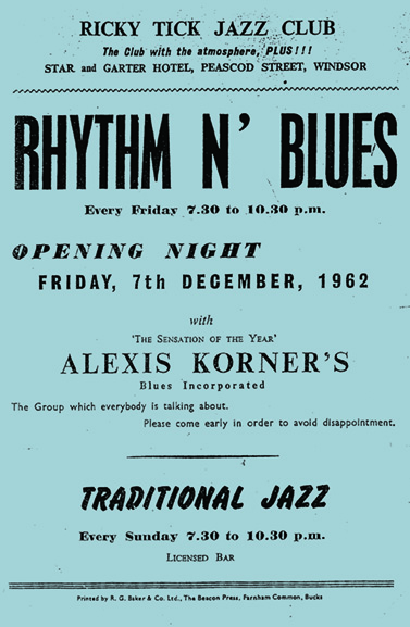 The first Ricky-Tick show to go outside the boundaries of jazz featured Alexis Korner's Blues Incorporated.