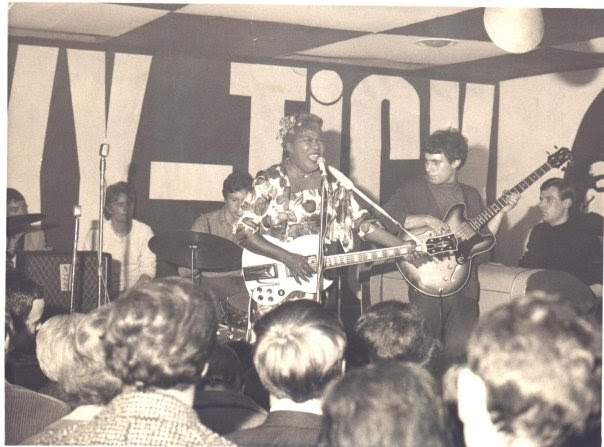 Sister Rosetta Tharpe played numerous Ricky-Tick shows. This one took place at Clewer Mead in Windsor on October 31, 1964. Backing her up was a local group called Five Dimensions.