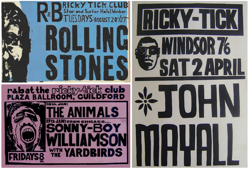 An assortment of screenprint posters for Ricky-Tick. Instead of silk, Mansfield and Hayward purchased organdy for their screens. When stores ran out of that, they used curtains, as was the case for the Rolling Stones poster.
