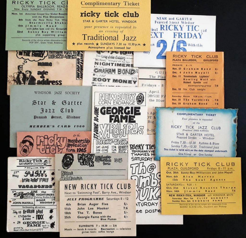 And assortments of cards and flyers from various Ricky-Tick venues.