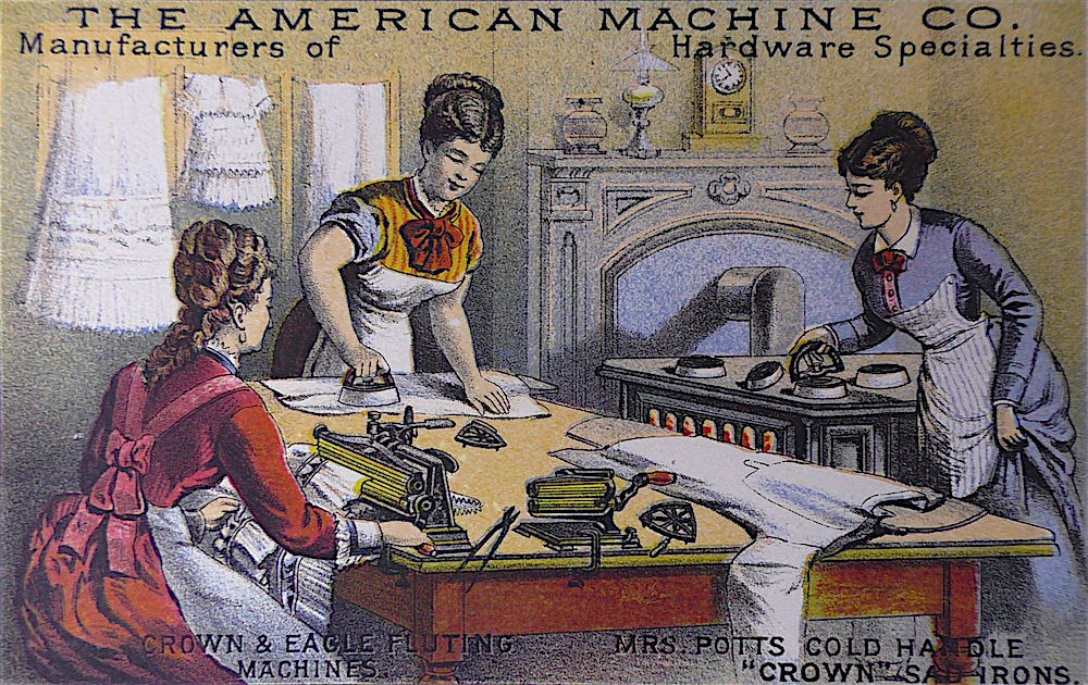 This late-19th-century trade card shows various types of sad irons in use and being heated. In the foreground are several fluting irons, which were heated by inserting hot rods into the device.