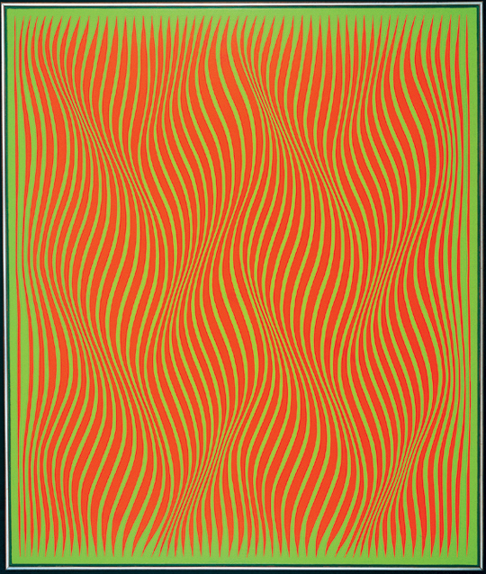 """""""Obsession 1,"""" a 1965 painting by Julian Stanczak, is a work of op art that seems to anticipate the psychedelic art that followed it."""