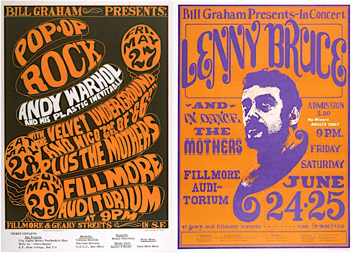 In May and June of 1966, Wallace-Cohen saw Andy Warhol and Lenny Bruce perform at the Fillmore Auditorium.