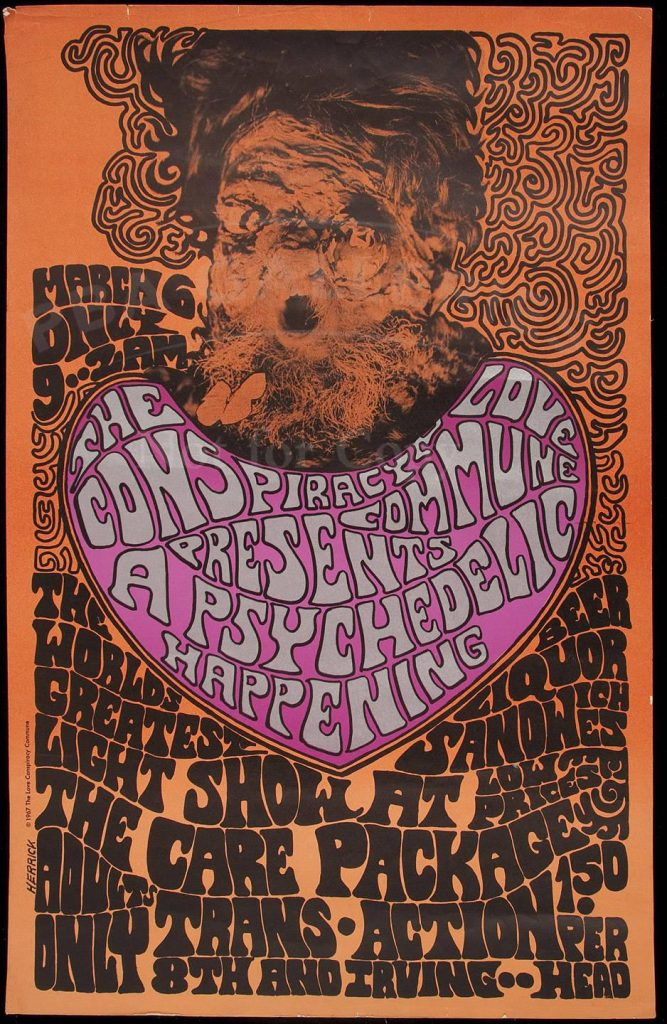 This may be Wallace-Cohen's last poster for the Love Conspiracy Commune, dated a few nights after the Grateful Dead performed at Winterland and a few months before members of the commune were busted for running a meth lab.