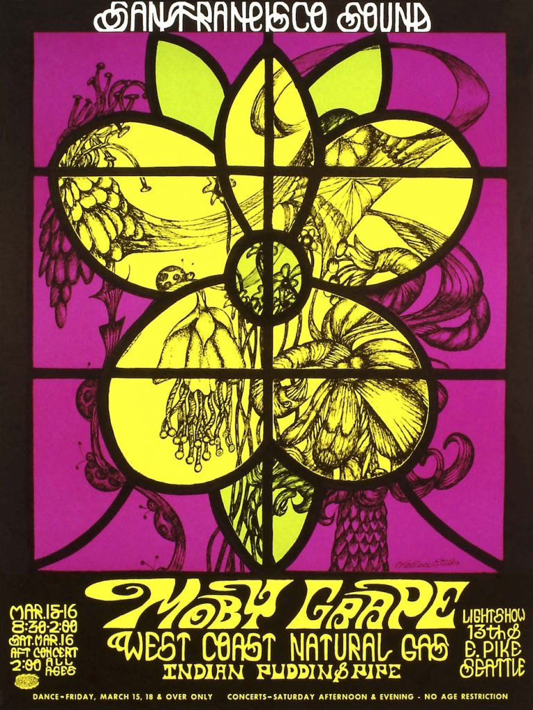 Donna Wallace-Cohen's last poster for a San Francisco Sound show in Seattle, March 15-16, 1968.