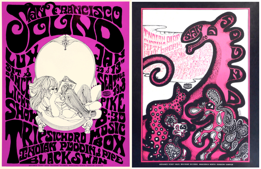 Many of Wallace-Cohen's posters for San Francisco Sound shows in Seattle relied on her hand-lettering and illustrating skills. These are from January and February, 1968.