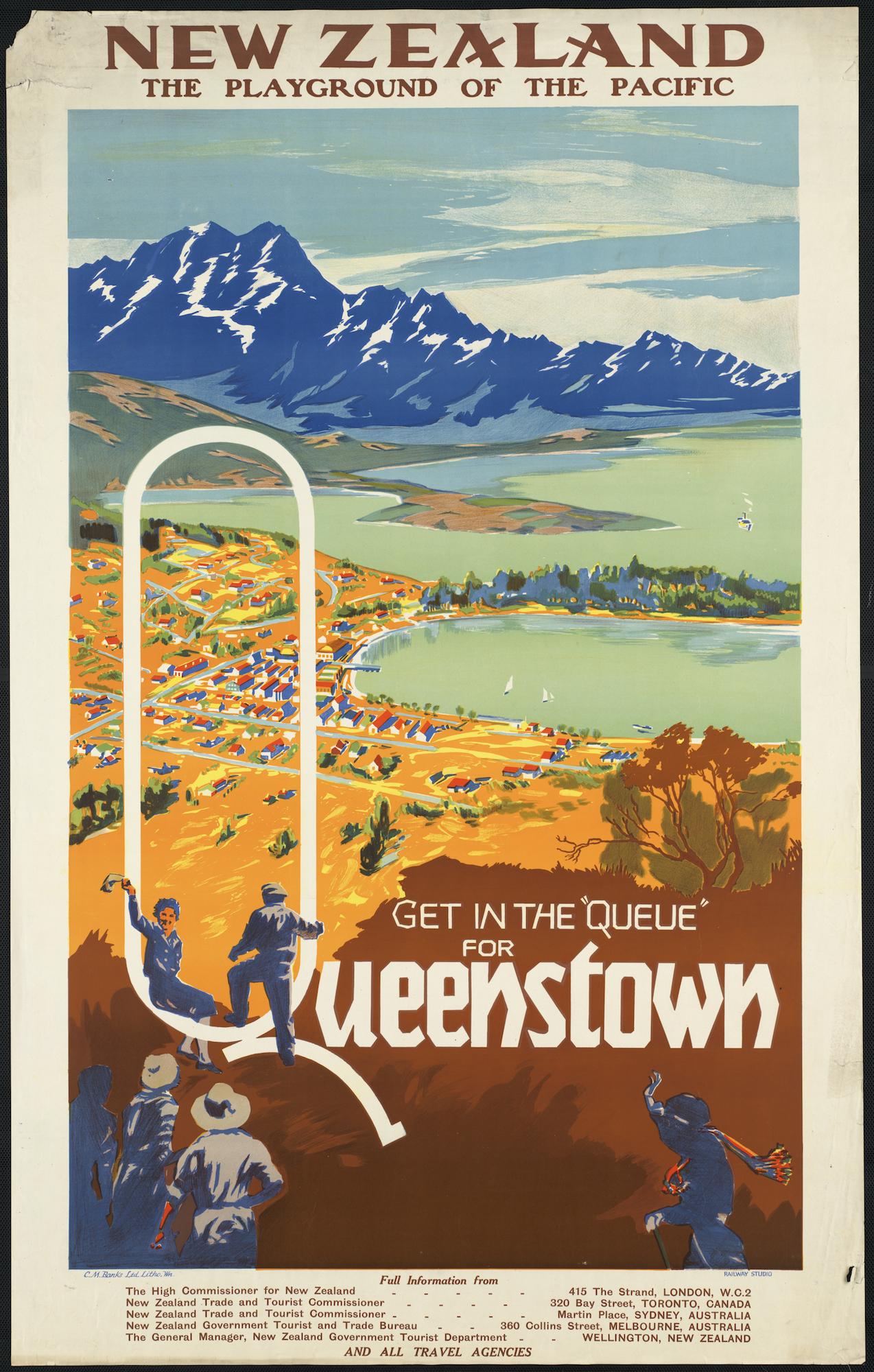 """""""Get in the 'Queue' for Queenstown,"""" 1934."""