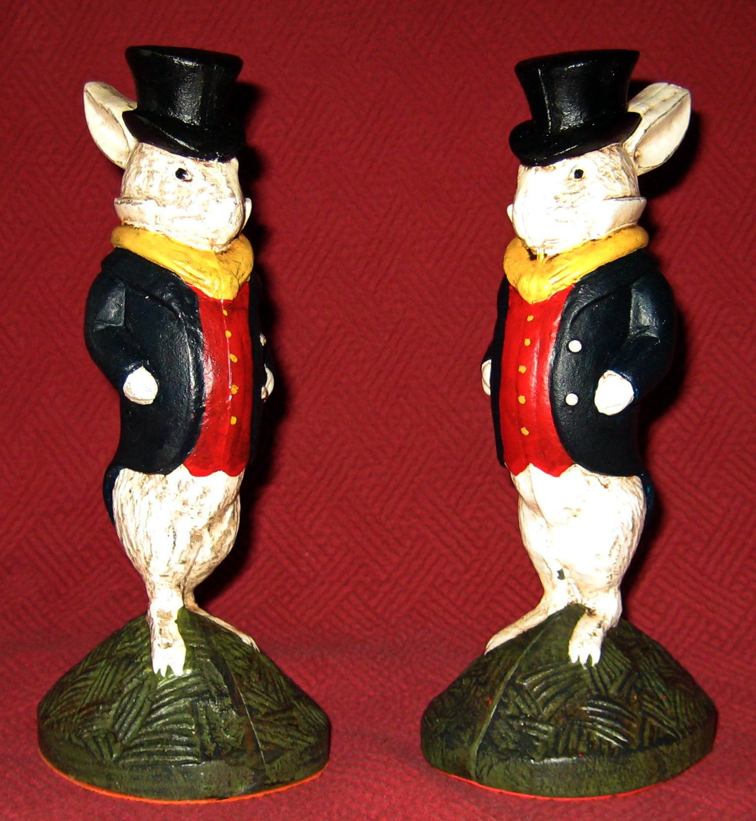 "These 'well dressed gentlemen rabbits' from the 1960s or '70s are direct copies of pieces originally produced in the 1920s by either the National or Albany foundries. Each is about 8"" tall."