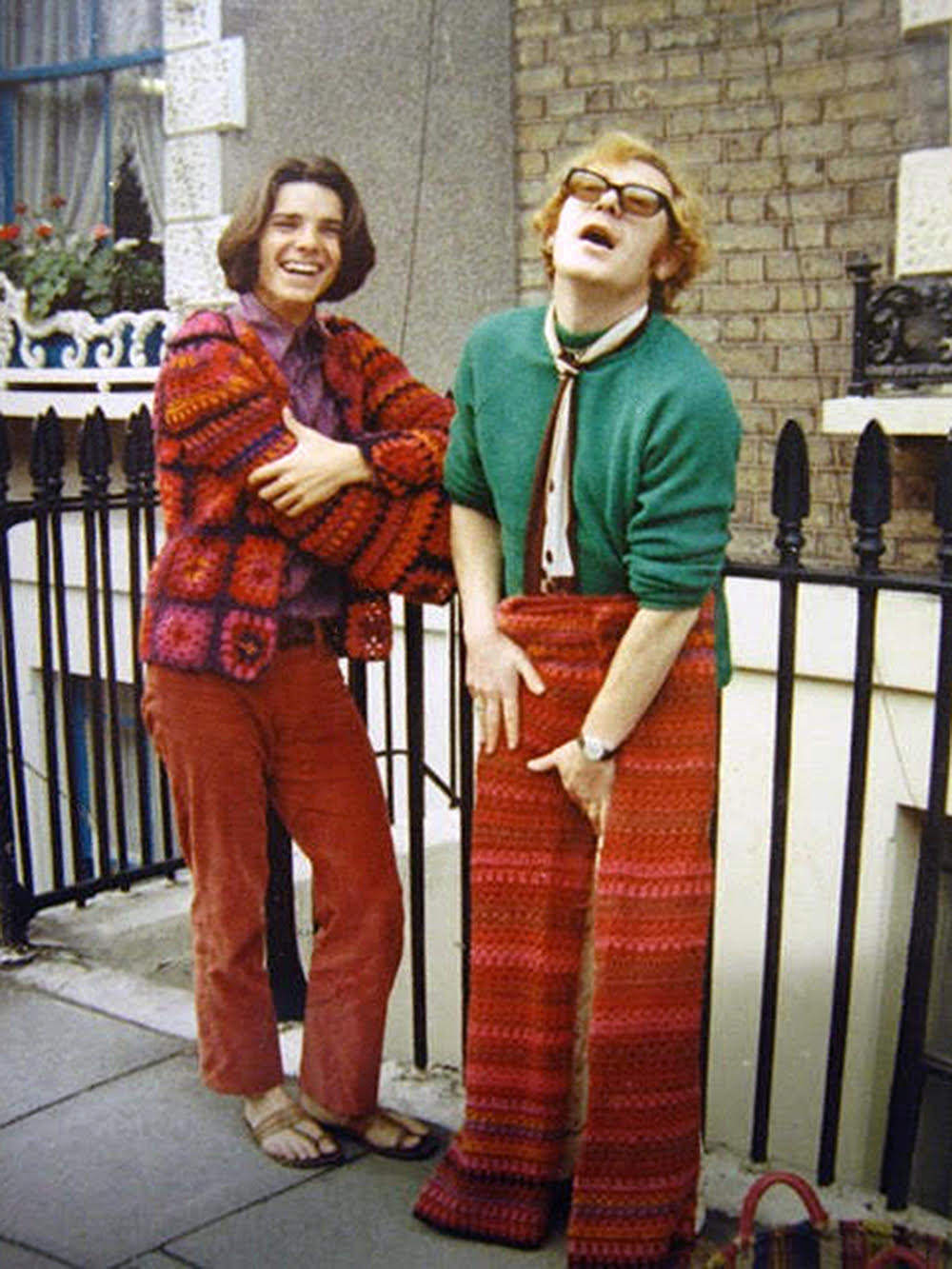 Jan Öqvist in 1968, wearing Bjerke's Clapton jacket, with Vern Lambert, one of the owners of the Chelsea Antique Market store where Bjerke worked.