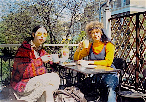 Stephanie Spinner, wearing the Clapton jacket, with Birgitta Bjerke at the sandwich shop in the Chelsea Antique Market overlooking King's Road, 1968.