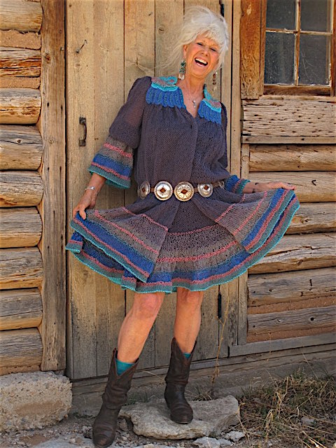 """Hornsgatan,"" named for a street in Stockholm, was begun in 1978, put away, and finished in 2008. Here, Bjerke models the jacket outside her cabin in Pecos, New Mexico."