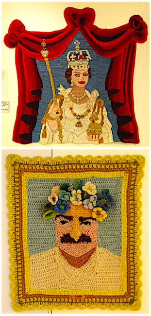 Two of Bjerke's crochet portraits. Top: Queen Elizabeth II on the day of her coronation. Above: Meher Baba.