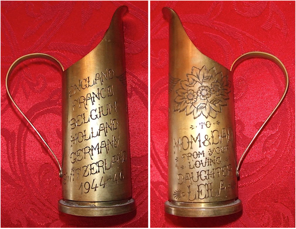This example of post-World War II trench art appears to document the countries where an Army Nurse was stationed between 1944 and 1946. Vezeau believes it was made in Switzerland by a jeweler who had the tools to turn small spent artillery shells into souvenirs just waiting for a personalized engraving.