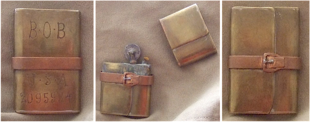 This working lighter is disguised as a World War I map satchel. It features the initials and serial number of a member of the American Expeditionary Forces.