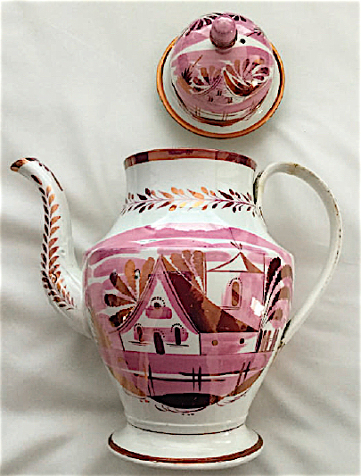 """""""Church"""" is one of several hand-painted Patterson patterns glazed in a pink luster."""