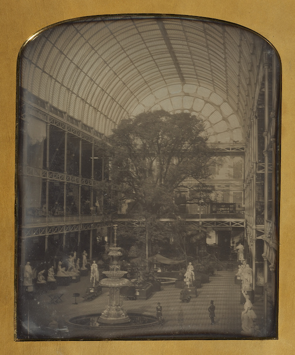 """Example of the American process. John Jabez Edwin Mayall , """"The Crystal Palace at Hyde Park, London,"""" 1851. Daguerreotype, 12"""" × 9 11/16""""."""