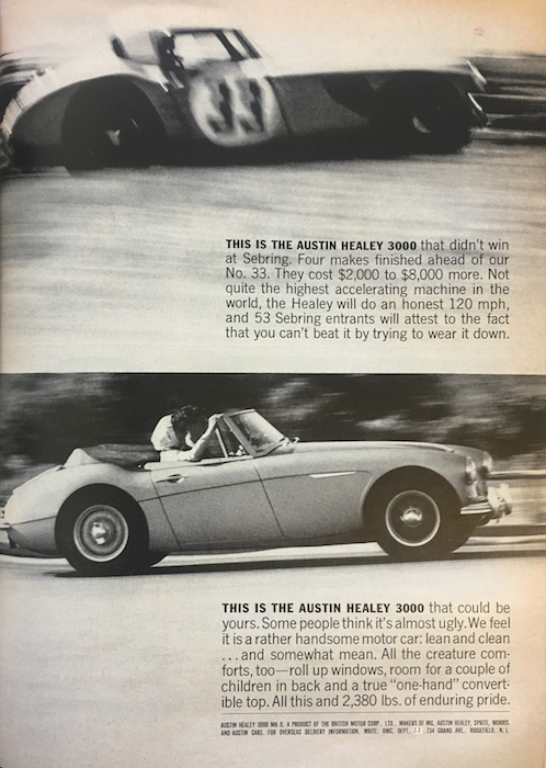 """Example of motion blur. """"This is the Austin Healey 3000"""" advertisement, Road and Track, September, 1963."""